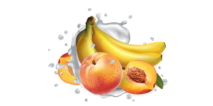 Bananas and peaches in splashes of milk or yogurt.