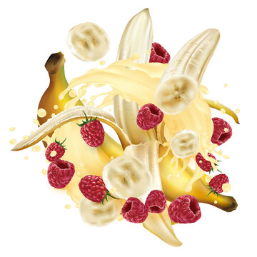 Bananas and raspberries and a splash of milkshake or yogurt.