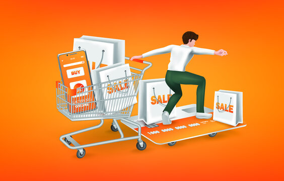 A man dragging a shopping cart and Slid himself forward with a skate board for shopping online advertising concept design,vector concept design