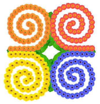 Native symbol  of  Unity in Strength  made from flowers  isolated