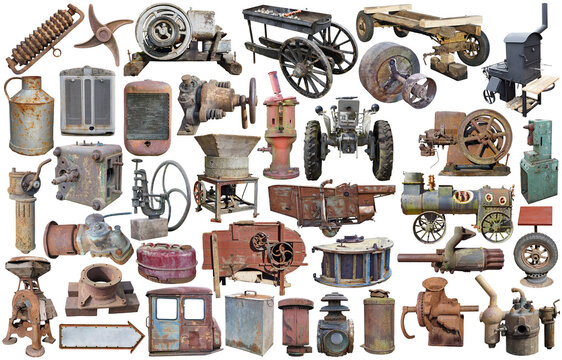 Rusty retro agricultural machinery and equipments set