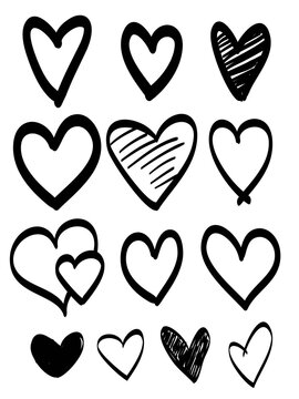 Doodle hearts collection. hand drawn love heart. vector illustration