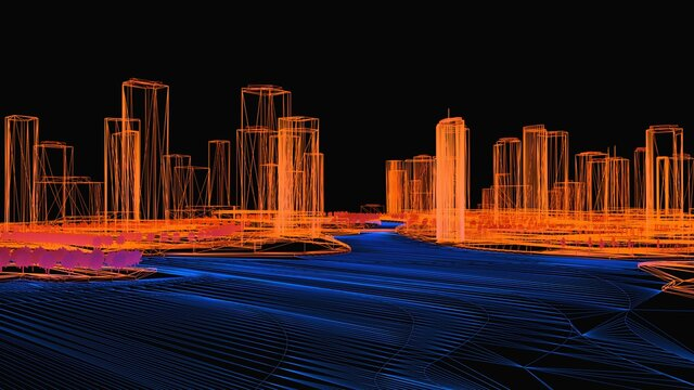 Conceptual 3d illustration of a night city with lighting from glowing water. 3d rendering.
