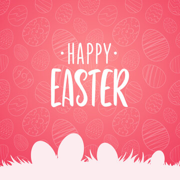 Vector Greeting card with hand drawn lettering of Happy Easter with silhouette of eggs on grass on pink background.