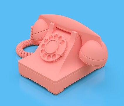 Old pink dial telephone on a blue background. 3d illustration.