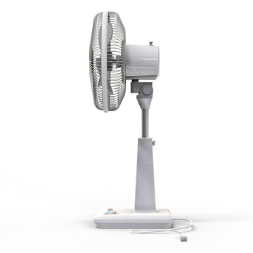 White electric fan. Three-dimensional model on a white background. Fan with control buttons on the stand. A simple device for air ventilation. 3d illustration.