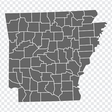 State Arkansas map on transparent background. Arkansas map with  regions in gray for your web site design, logo, app, UI. USA. EPS10.