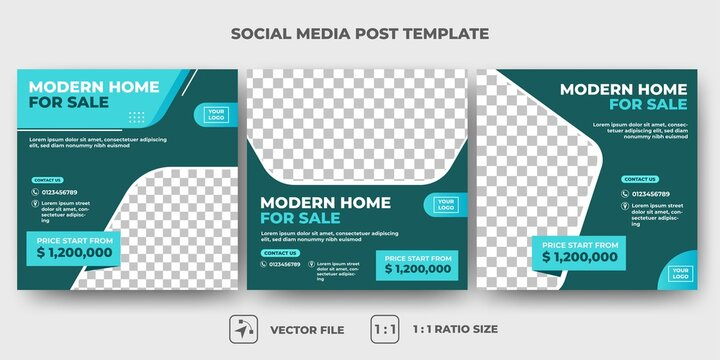 Set of Editable promotion banner template. Furniture social media post template. Vector design with photo collage. Usable for social media, banner, and web internet ads.