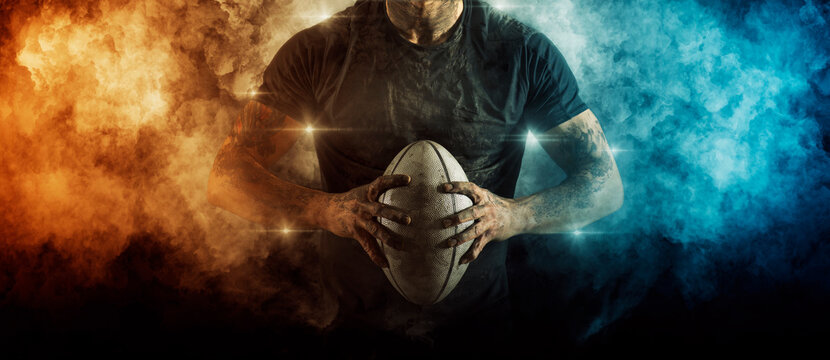 Man rugby player. Sports banner