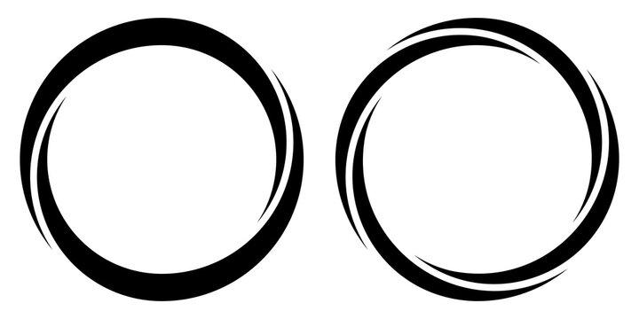Round circular banner frames, borders, vector hand drawn, circular markers highlighting text