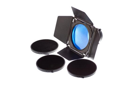 Фото насадка дверь сарая с цветным фильтром и сотами различного диаметра