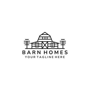 barn home minimalist line art icon logo template vector illustration design, farm house minimalist line art logo