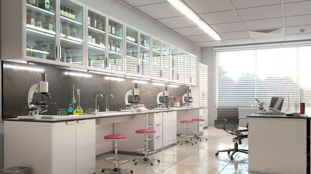 Spacious laboratory interior. 3d illustration