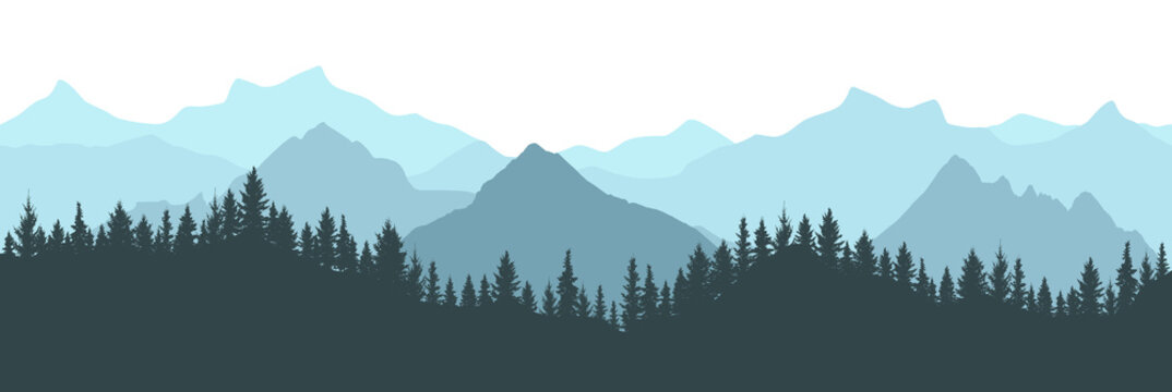 Beautiful forest on background of mountains, blue color. Silhouette of fir trees. Vector illustration.