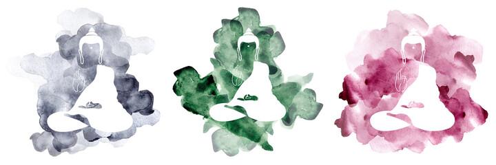 Set of Watercolor buddha. Symbol of buddha isolated on white background. Indian, Buddhism, Spiritual motifs. Yoga, spirituality. Buddha silhouette for spa logo