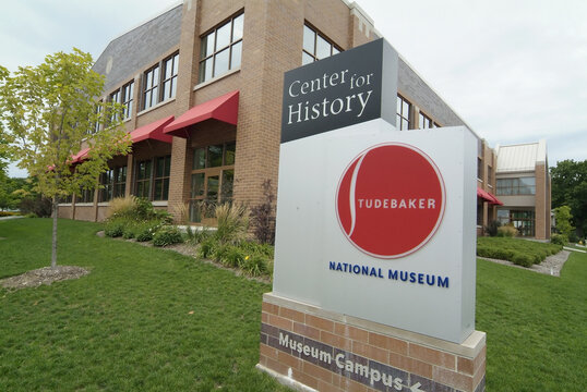 SOUTH BEND, UNITED STATES - Aug 17, 2007: Exterior and signage of the Studebaker Museum in South bend, Indiana