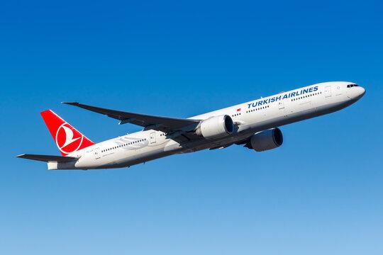 Turkish Airlines Boeing 777-300ER airplane Frankfurt Airport in Germany
