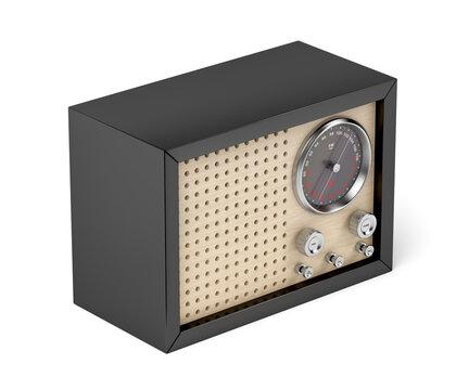 Black retro radio on white background