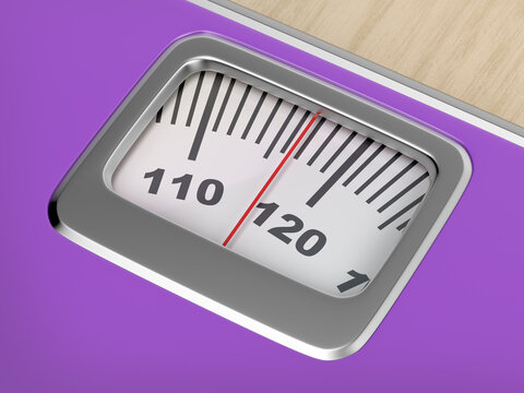 Concept image of overweight with mechanical weighing scale