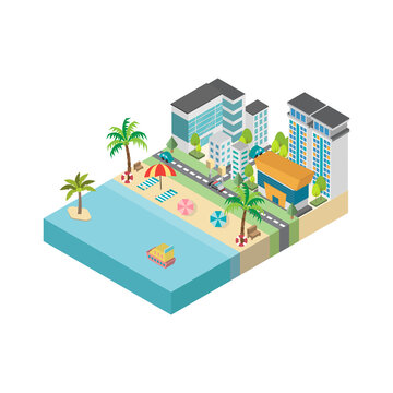 Beach with city buildings isometric. Landscape with sea. Vector illustration.