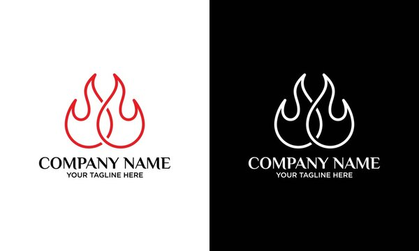 handdrawn fire icon illustration with single line style