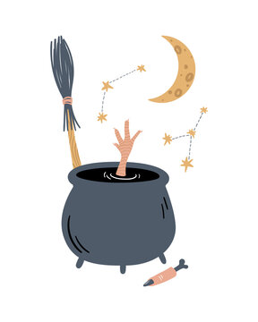 Vector magic illustration. A potion in a cauldron of the chicken feet and zombie finger. Witchcraft, broom, crescent moon, constellation and spell. Cartoon doodle magical poster, card, print