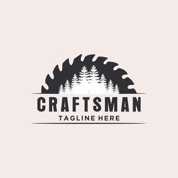 Pine Tree & Saw Vintage Sawmill Logo