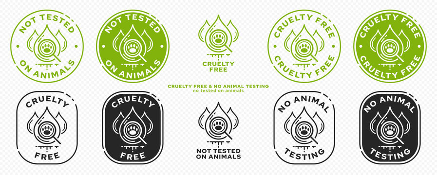 Concept for product packaging. Marking - cruelty free and not tested on animals. Animal test drops symbol with magnifying glass and animal footprint - as a symbol of freedom from testing. Vector set.
