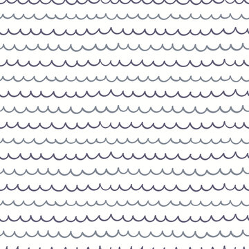 Blue waves simple nautical seamless pattern on white background. Hand drawn vector illustration. Scandinavian style line drawing. Design concept for kids fashion print, textile, wallpaper, packaging.