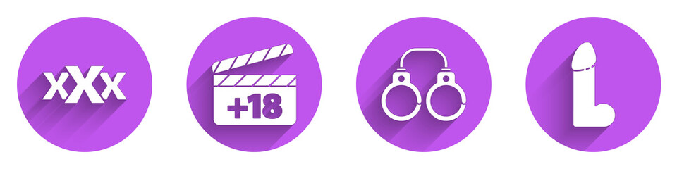 Obraz Set Sex shop, Movie clapper with 18 plus content, Sexy fluffy handcuffs and Dildo vibrator icon with long shadow. Vector. - fototapety do salonu