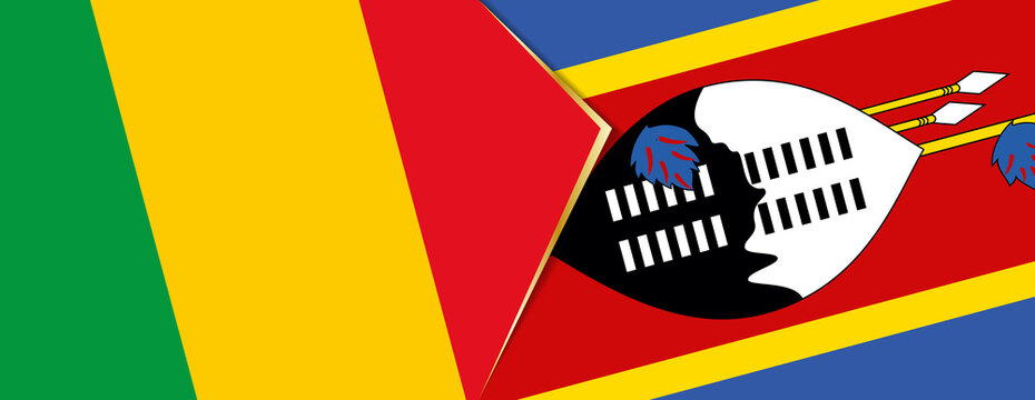 Mali and Swaziland flags, two vector flags.