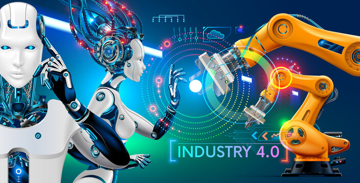 Robot or cyborg with artificial intelligence controls manipulator arms on factory or manufacture. industry 4.0. AI technology in industrial revolution. Orange robotic mechanical hands. Abstract hud.