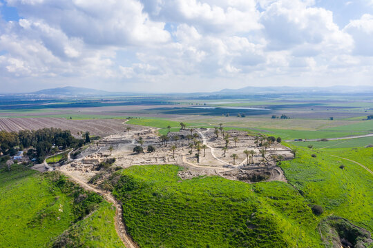 Tel Megiddo national park, Also known in Greek as Armageddon, A prophesied town for a battle during the end times, Aerial view.
