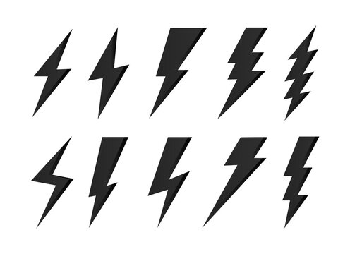 Set lightning bolt icons, Thunderbolt flat style, yellow flash thunder symbols , electric thunderbolt, lighting, electric charge icon for apps and websites