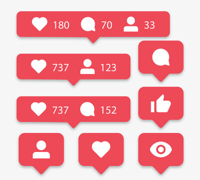Social media notification icons in speech bubbles like love comment share follower seen icon