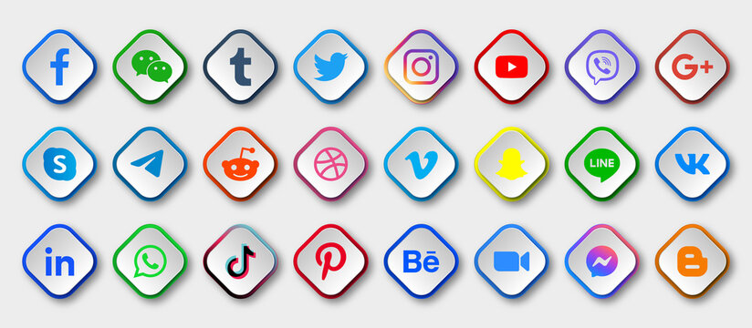 Social media icons buttons logos, facebook, twitter, instagram, youtube, google plus, telegram, reddit, dribbble, vimeo, snapchat, linkedin, whatsapp, tiktok, pinterest, behance, messenger icon