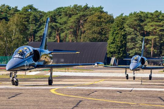 Breitling Jet Team Aero L-39 Albatros plane taxiing after landing on Kleine Brogel Airbase. Belgium - September 14, 2019.