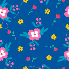 Wall Mural - Cute spring flower seamless pattern on blue background vector illustration