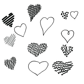 Simple doodle vector set of 13 hearts for valentine's day cards, posters, wrapping and design. Hand drawn hearts, isolated on white backdrop. Geometric shape, symbol Valentine's Day illustration.