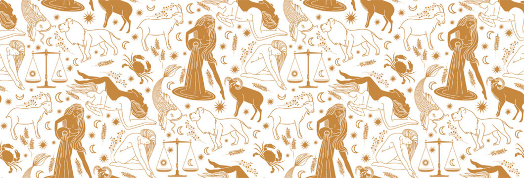 Seamless pattern - signs of the zodiac. Gold illustration of astrological signs on a white background. Magical illustrations of women and animals. Color scale fortune gold. Mythical characters