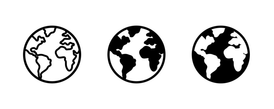 World planet icon, Globe icon. Planet earth icons button, vector, sign, symbol, logo, illustration, editable stroke, flat design style isolated on white linear pictogram