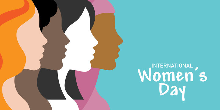International women's day poster. Profile faces of different races. Space for text