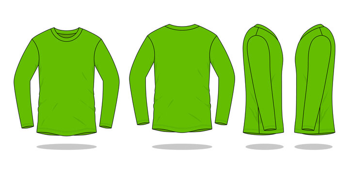 Blank Green Long Sleeve T-Shirt Vector For Template.Front, Back and Side View.