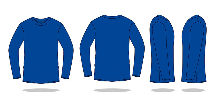 Blank Navy Blue Long Sleeve T-Shirt Vector For Template.Front, Back and Side View.