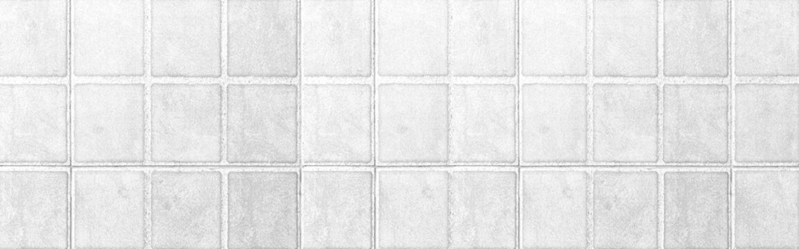 Panorama of White ceramic floor tile pattern and background seamless