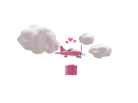 Pink airplane is carrying a great gift for the holiday, airplane in the clouds. 3d illustration