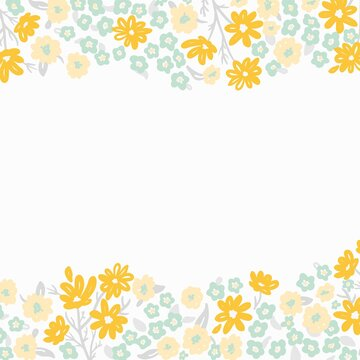 light spring floral border with tiny yellow flowers, square format