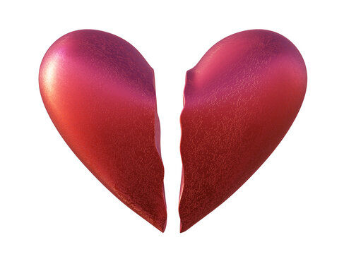 Red broken heart in two parts, classic shape, isolted on white, 3d render