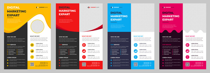 Obraz Corporate business flyer template design set with blue, magenta, red and yellow color. marketing, business proposal, promotion, advertise, publication, cover page.  - fototapety do salonu