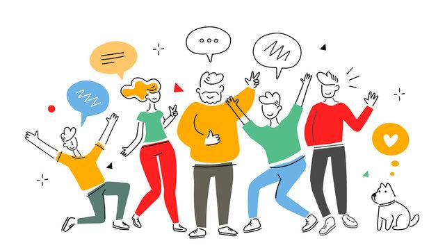 Vector business illustration of communication people team
